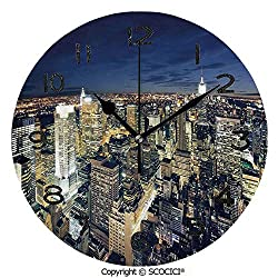 SCOCICI Print Round Wall Clock, 10 Inch Modern Cityscape After Sunset Manhattan New York USA Architectural View Quiet Desk Clock for Home,Office,School