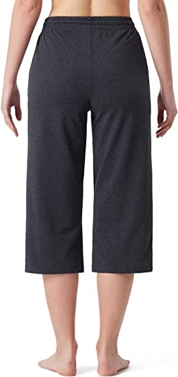 linlon Womens Active Yoga Relax Lounge Capri Pants with Pockets