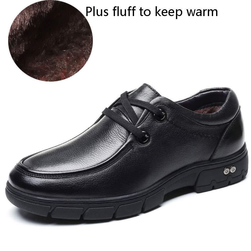 WANG-LONG Schuhe Herren Stiefel Martin Winter Plus Samt Warm Business Casual Baumwolle Lederschuhe Rutschfeste Mode,schwarz-40