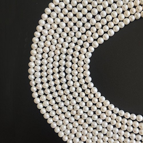Natural White Cultured Freshwater Pearl Off Nearly Round 5-6mm Loose Beads for Fashion Necklace Bracelet Earrings Jewelry Gift DIY Making Supply One Strand 15 Inch (Freshwater Off Round Pearl Necklace)
