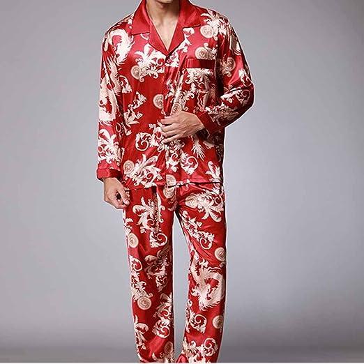Pijama de algodón para hombre Set De manga larga Pantalones ...