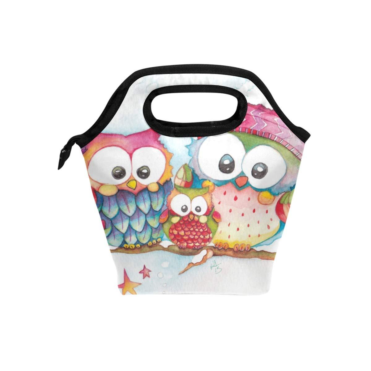Lunch Bag Cartoon Owls Family Tree Womens Insulated Lunch Tote Zipper Kids Lunch Box
