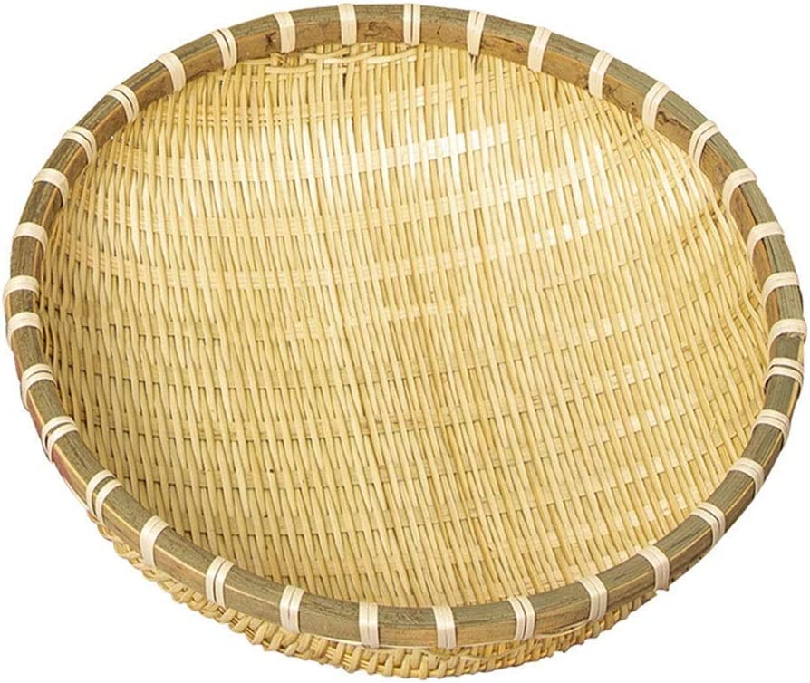 FHKBK Caja de Almacenamiento Multiusos para Frutas y Verduras en un tamiz de Granja de Cesta Redonda Tejida de bambú con Orificios con Fugas (tamaño: diámetro 36)