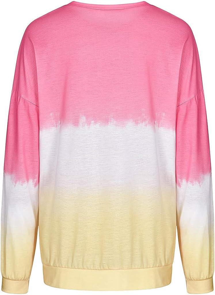 VEKDONE Women Long Sleeve T-Shirt Sweatshirt Plus Size Casual Colorblock Tie Dye Printed Loose Pullover Tunic Tops