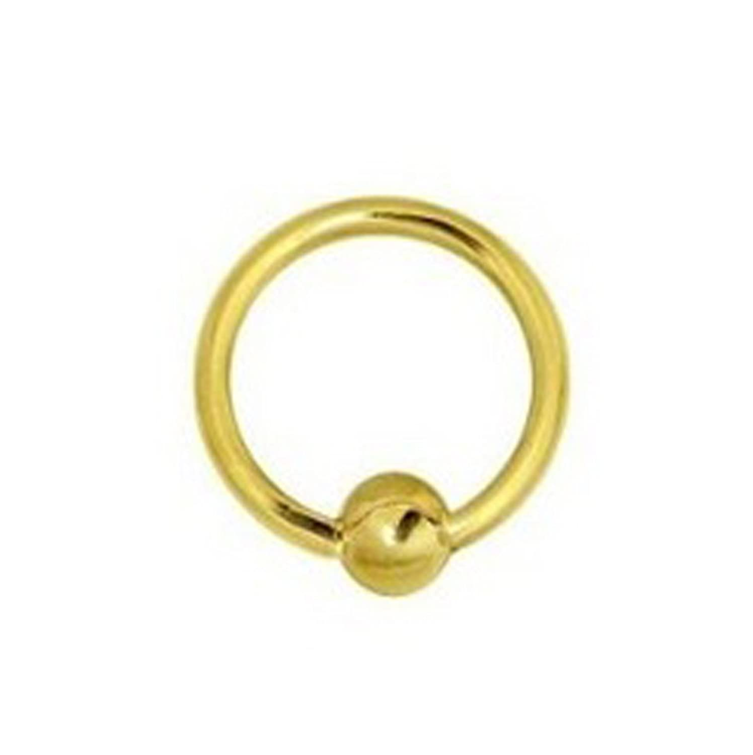 14K Solid Yellow Gold Nipple Captive Ball Closure Bead Ring Body