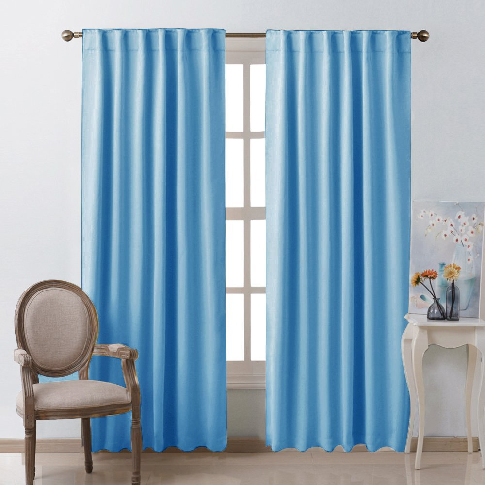 Window Treatment Solid Blackout Curtains Blue Color
