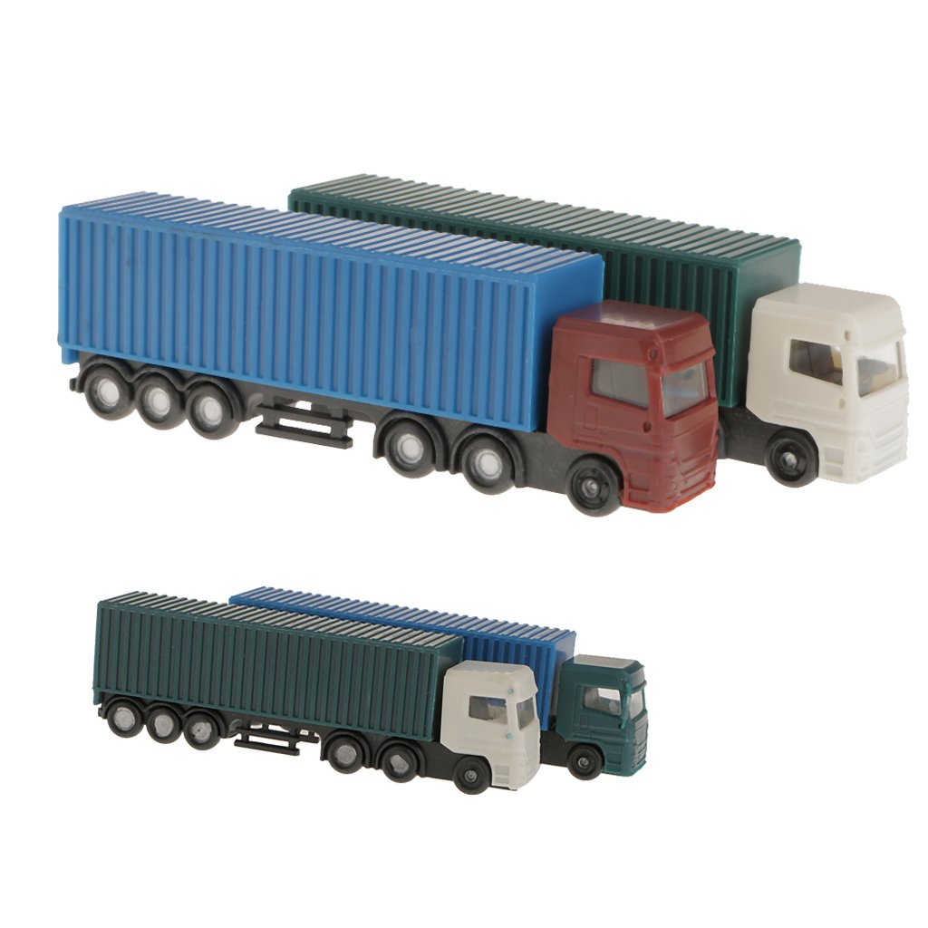 Generic 2Pcs Model Container Truck Figure 1:150 N Scale Building Scenery Layout