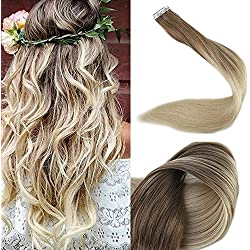 """Full Shine 18"""" Tape in Real Hair Extentions Full Head Remy Hair Extensions Balayage Ombre Hair Extensions Color #8 Fading to #60 Plautinum Blonde Glue in Hair Extensions Human Hair 50g 20 Pcs/Package"""