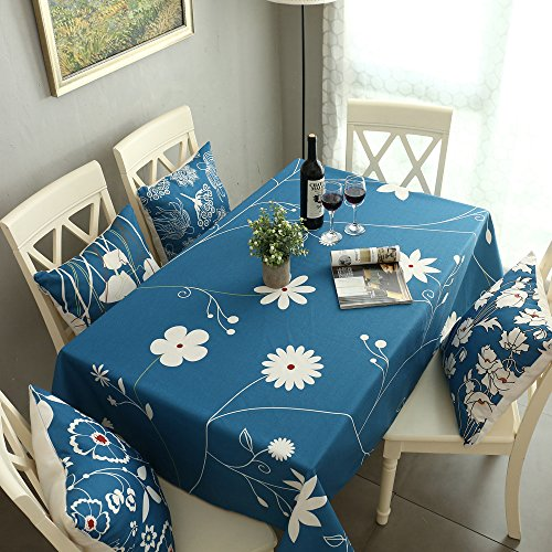 1 Cotton Linen (HWY 50 Tablecloths For Rectangle Tables , 1 Piece 60 x 84 inch Thick Cotton And Linen Blended Large Prints Kitchen Decorative Blue Table Cloths)