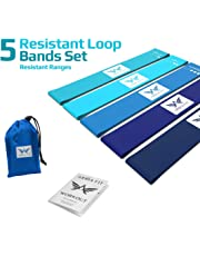 ARRIA FIT Resistance Bands Set of Five Resistance Loop Bands for Fitness Booty Building Leg and Glute Activation Exercise with Carry Bag Fitness Booty Bands Physical