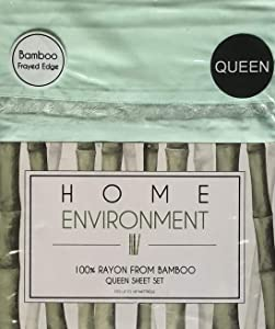 Home Environment Mint Green Queen Sheet Set with Frilly Edge Hem 100% Rayon from Bamboo - Antibacterial Eco-Friendly