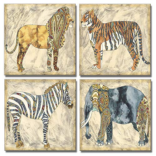 (DekHome Retro Animal Wall Art Lion Tigar Elephant Zebra Pictures Printed on Canvas Vintage Wildlife Artwork for Living Room Bedroom Home Decor 12