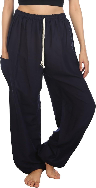 Lofbaz Mujeres Har/én Pantalones de Cintura de cord/ón Ropa Boho Yoga