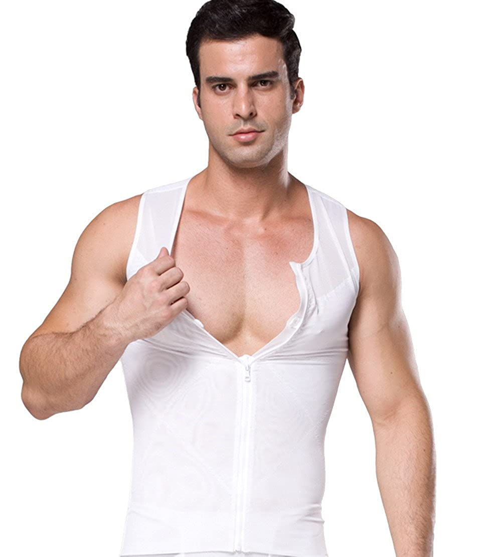 Niyatree Mens Sweat Body Shaperwear Weight Loss Sauna Suit Slimming Neoprene Vest Waist Girdle Sport Vest Size XXL - White