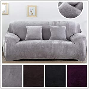 silverfish home Modern Velvet Plush Stretch Sofa Covers. Stylish Furniture Cushions Sofa Slipcovers Winter Cover Protector