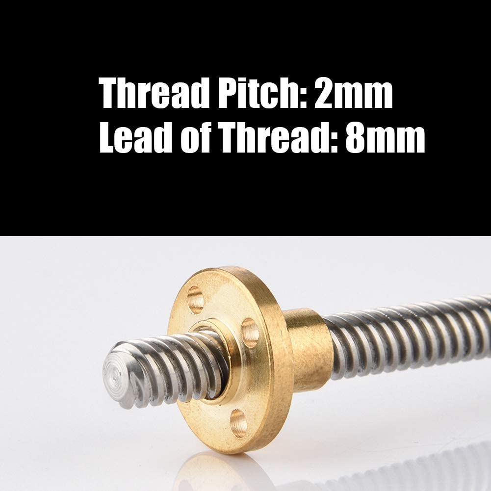 Delaman High Temperature Resistance T8 Trapezoidal Stainless Steel Threaded Rod Lead Screw /& Brass Nut for 3D Printer Screw Rod 100mm