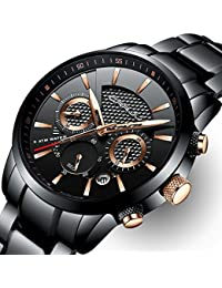 Mens Stainless Steel Watches Date Casual Wrist Watch with Black Dial