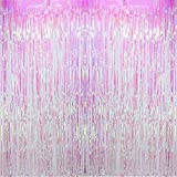 Blukey Foil Fringe Backdrop Metallic Tinsel Curtain