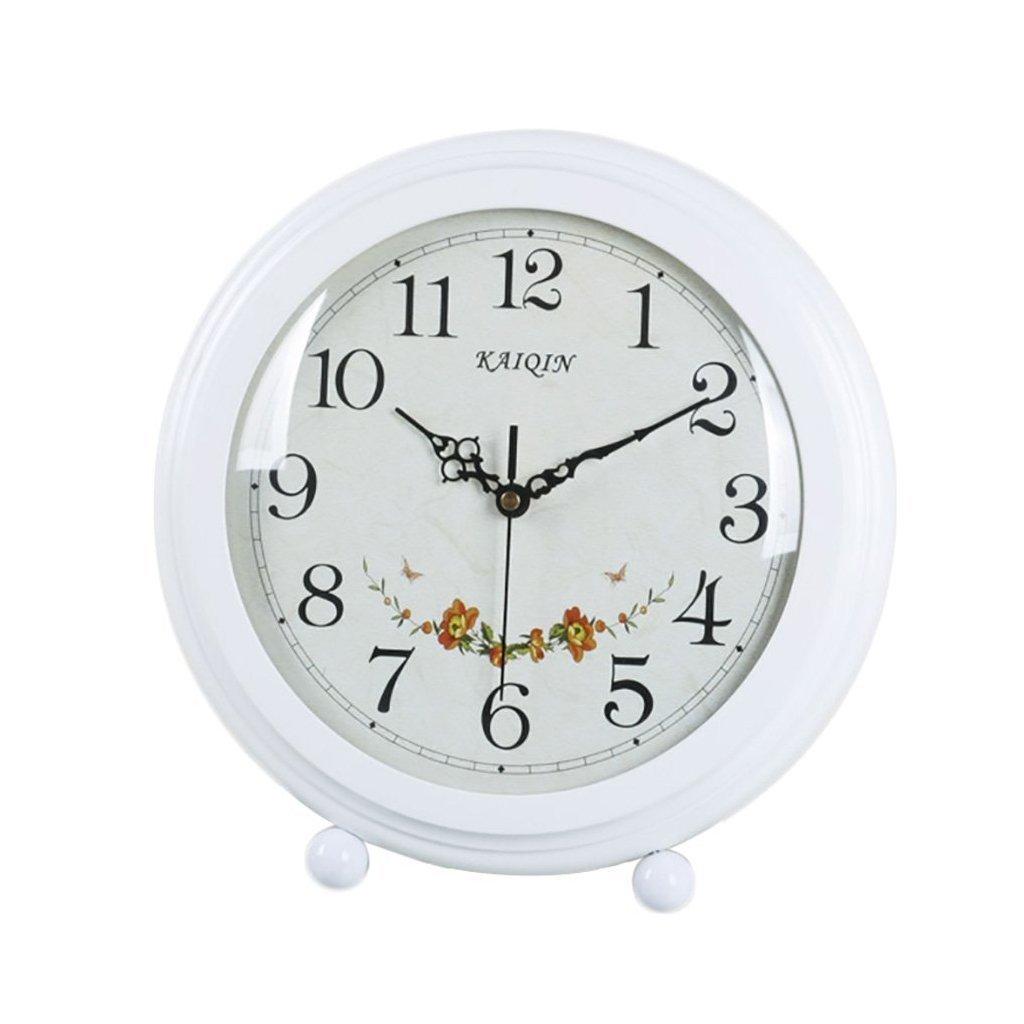 HAOFAY European-style Living Room Retro White Desktop Clock, Rustic Garden Clock Desk and Shelf Clock