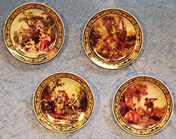 three star porcelain decorative wall plates set of 4 romantic scenery motif - Decorative Wall Plates