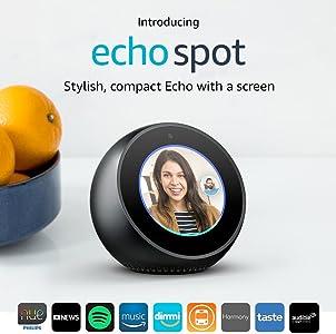Amazon Echo Spot - Smart Alarm Clock with Alexa - Black