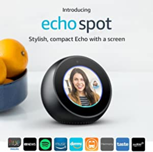 Amazon Echo Spot - Smart Alarm Clock with Alexa - Black