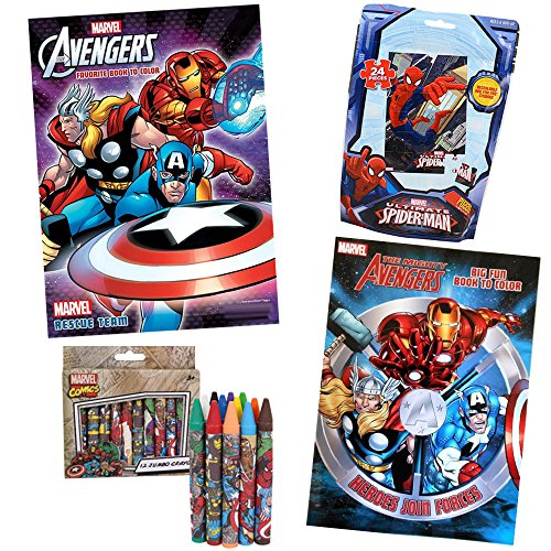 Avengers Assemble Coloring Activity Set, 4 Pack, Includes 2 Avengers Assemble Coloring Books, 12 Avengers Assemble Jumbo Crayons, 24 Piece Ultimate Spiderman Puzzle, for Avengers Birthday, Avengers Present, Avengers Party, Deluxe Marvel Activity Set for Children Ages 3 To 7