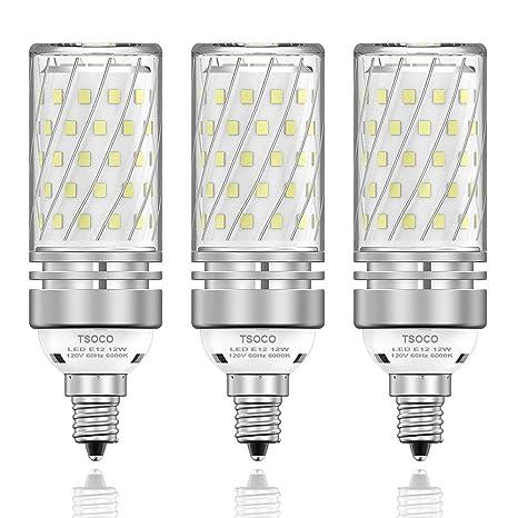 separation shoes 20d99 997fa TSOCO E12 LED Bulbs,12W LED Chandelier Light Bulbs,100 Watt  Equivalent,6000K Daylight White,1200LM,Non-Dimmable Ceiling Fan Light  Bulbs,Pack of 3