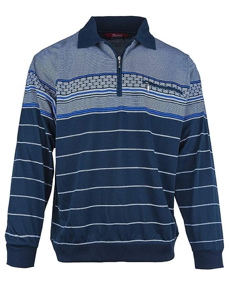 Humy Herren Langarm Poloshirt, Polohemd, Blousonshirt aus Baumwoll-Mix (M bis 3XL)