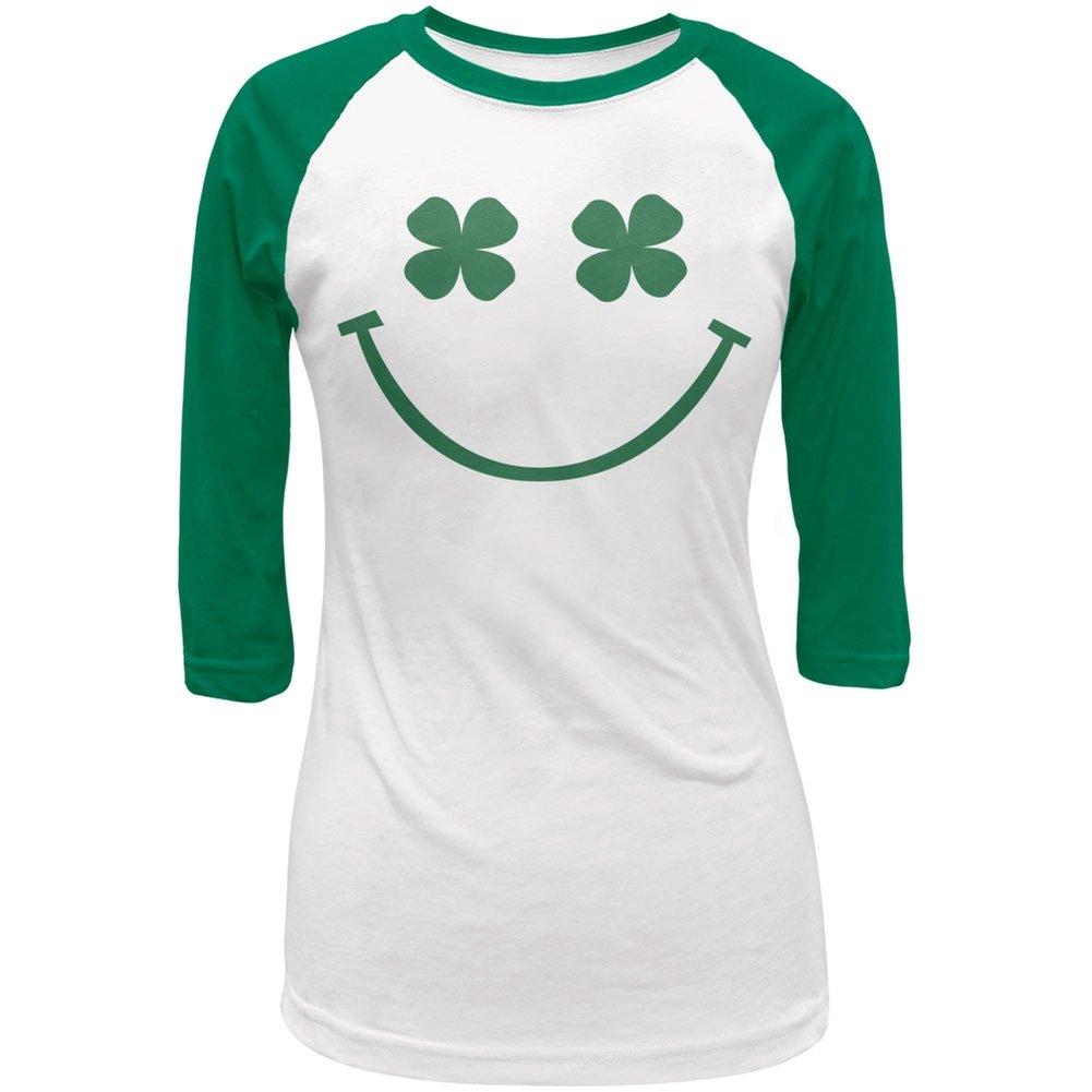 94c3bd62 Amazon.com: St. Patricks Day Shamrock Smiley Face Juniors 3/4 Sleeve Raglan  T-Shirt: Clothing
