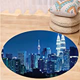 VROSELV Custom carpetFabric Kuala Lumpur Skyline at Night KLCC Twin Towers Malaysian Landmark Monochromic Photo Bedroom Living Room Dorm Decor Navy Black Round 72 inches