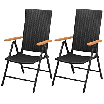 Schon VidaXL 2x Garden Chairs Poly Rattan Aluminium Black Outdoor Patio Seat  Folding
