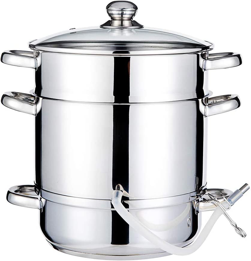 Fruit Juicer Steamer 8 Quart 18/10 Stainless Steel 26cm Multi Use Vegetables Steam Pot with Tempered Glass Lid Hose Induction Gas Stove Top Cookware for Making Grape, Juice, Jelly (3 Layer)