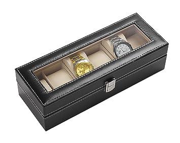 Caja Porta relojes Organizador para Relojes de pulsera a compartimentos de sintética: Amazon.es: Hogar