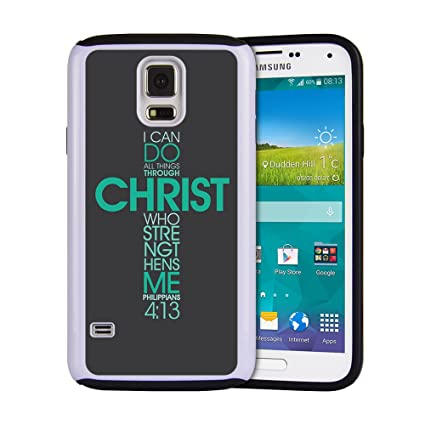 big sale 47859 f39de Rugged Rubber 2-layer Hybrid Custom Samsung Galaxy S5 case, protective skin  cover for Samsung Galaxy S5 Bible Verse Philippians 4:13 I can do all ...