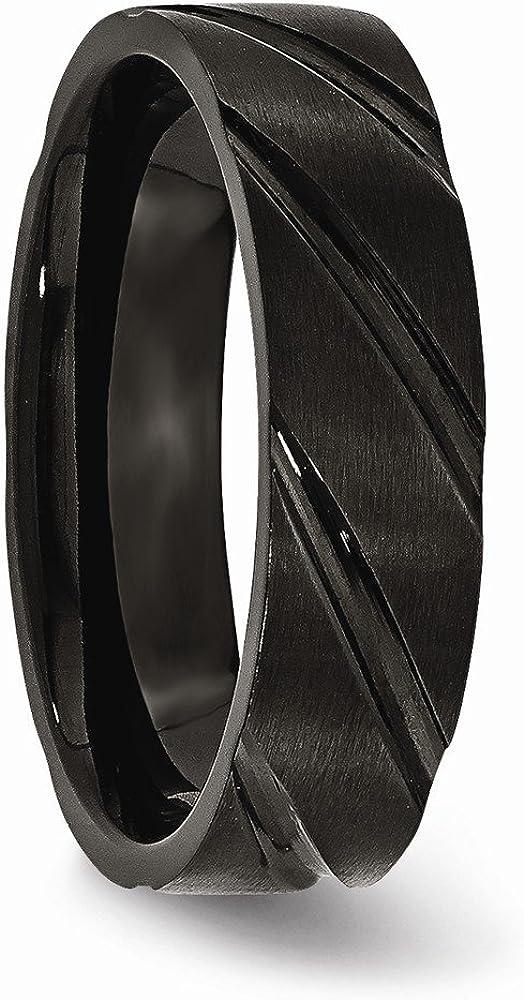 Bridal Wedding Bands Fancy Bands Titanium Swirl Design Black IP-plated 6mm Brushed//Polished Band Size 11