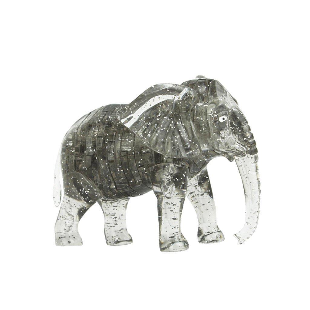 3D Crystal Puzzle IQ Jigsaw DIY Elephant Model Blocks Office Desk Toy Gray Generic