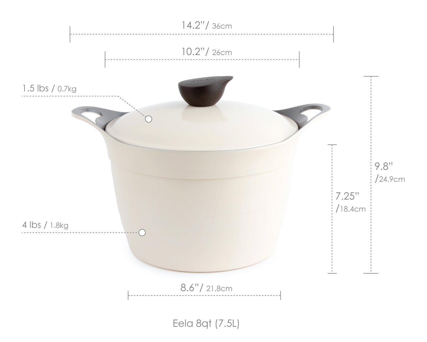 Neoflam Eela 8 QT Ceramic Nonstick Stockpot with Steam Releasing Lid in Ivory by Neoflam (Image #2)