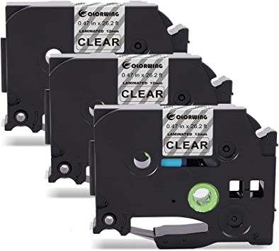 6PK 1//2/'/' 12mm Black on Clear TZe-131 Label Tape For Brother P-touch PT-1830