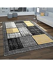 Tappeto da soggiorno con motivo geometrico moderno in tonalità grigie e giallo senape, Maat:160x230 cm, Kleur:Grijs 2