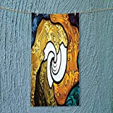 SOCOMIMI Camping Microfiber Towel Pop Art Style Funky Unusual Stained Glass Window Thai Art Pattern Traditional Image for Maximum Softness
