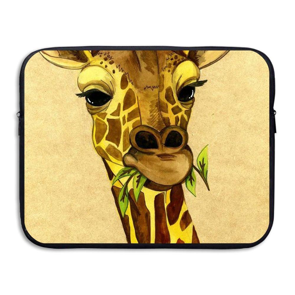Custom Laptop Sleeve 13/15 Inch Notebook Zipper Briefcase Giraffe Eat Glass Print Portable Messenger Bag