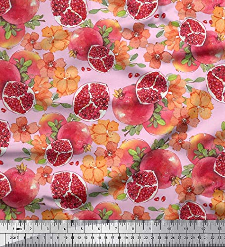 (Soimoi Pink Satin Silk Fabric Leaves,Floral & Pomegranate Fruits Decor Fabric Printed BTY 42 Inch)