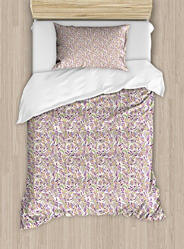 Ambesonne Abstract Twin Size Duvet Cover Set, Bouquet of Lilacs and Violets Flourishing Spring Nature Flowers, Decorative 2 Piece Bedding Set with 1 Pillow Sham, Pale Green Lavender Cream (Bouquet 2 Spring)