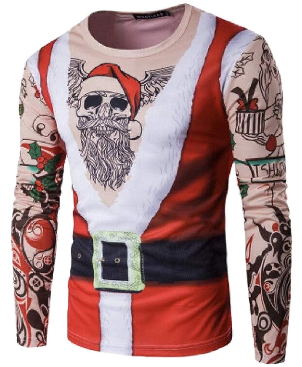 YIhujiuben Mens Print Christmas Long Sleeved Personalized Casual T-Shirt