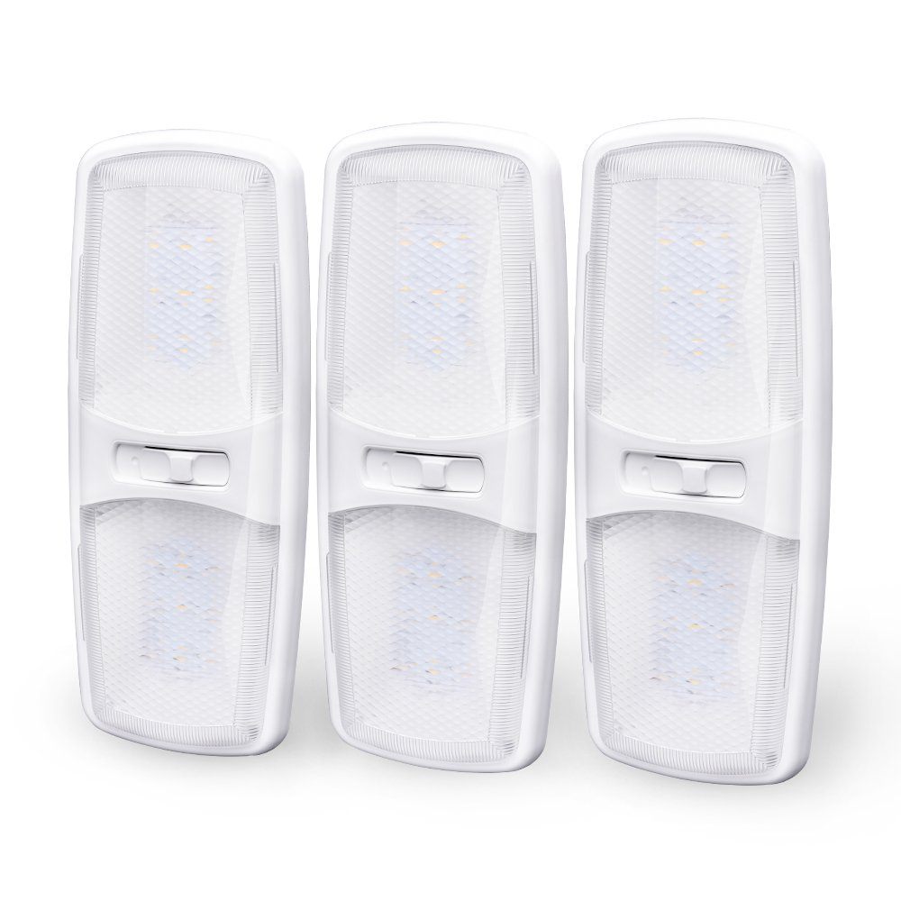 MICTUNING 3 Pack 12V LED RV Ceiling Dome Light Fixture with Switch Double Dome Interior Replacement Lighting for RV, Trailer, Camper, Motorhome, Boat (Warm White)