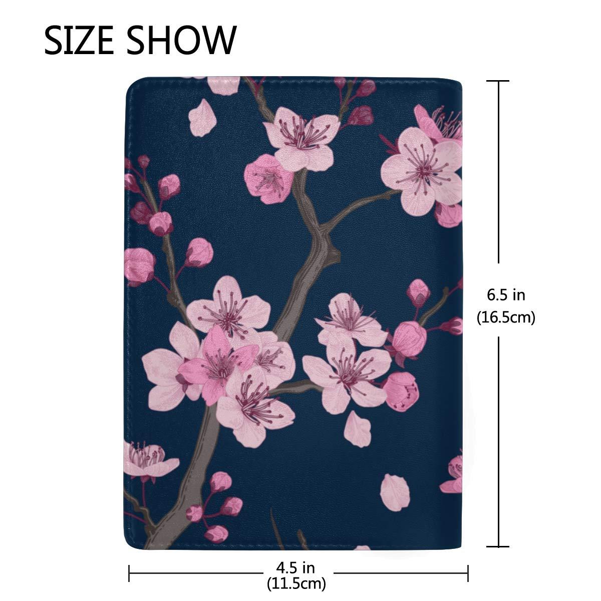 Pink White Sakura Fuji Mountain Japan Blocking Print Passport Holder Cover Case Travel Luggage Passport Wallet Card Holder Made with Leather for Men Women Kids Family