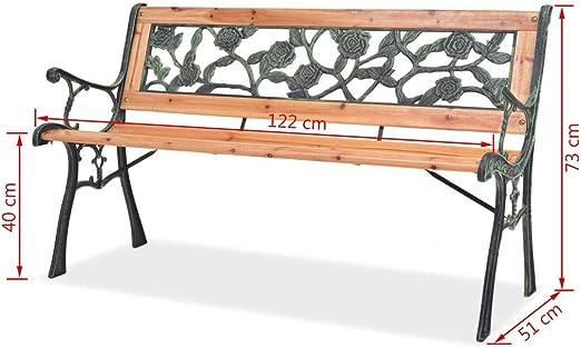 Vislone Panca da Giardino 2 Posti in Legno con Schienale,Panchina da Giardino 2 Posti in Legno con Schienale,Panca da Esterno 122 x 51 x 73 cm