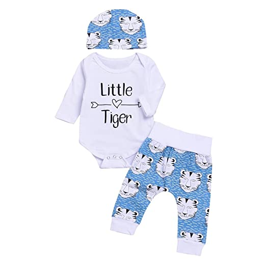 "63de2c3ded7a arrow ""Little Tiger ""Romper+Cartoon Tiger Pants Hat baby Clothes Set Vibola  ("