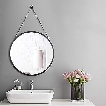 Rumcent Miroir Rond Avec Chaîne De Suspension, Crochet De Fixation Murale  Offertes, 50 Cm